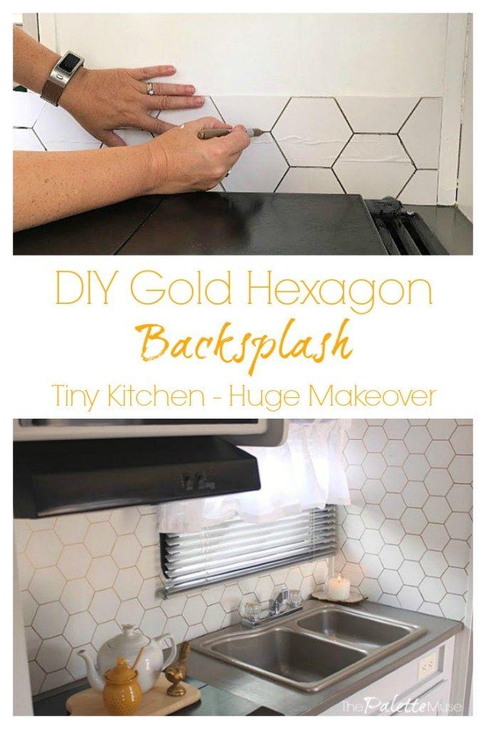 Diy Gold Hexagon Backsplash With Images Diy Backsplash