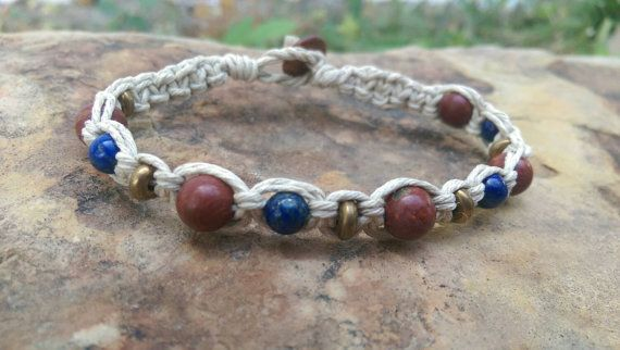 Check out this item in my Etsy shop https://www.etsy.com/listing/250668213/mens-hemp-bracelet-lapis-lazuli-jasper