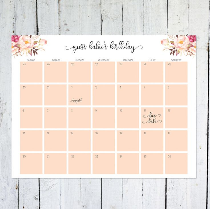 Due Date Calendar, Boho, Floral, Guess Baby's Due Date, Birthday Predictions, Printable by vocatio on Etsy https://www.etsy.com/ca/listing/531704173/due-date-calendar-boho-floral-guess