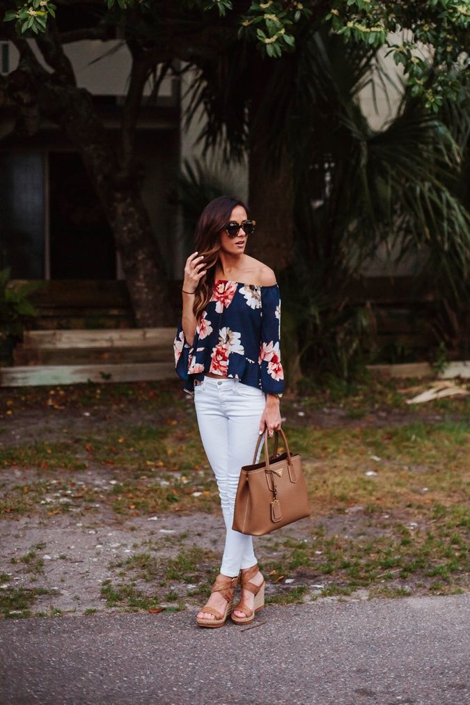 FLORAL OFF THE SHOULDER TOP + WHITE DENIM | Sequins & Things