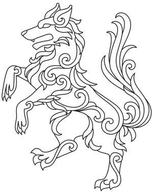 Gilded Heraldry - Wolf design (UTH7826) from UrbanThreads.com