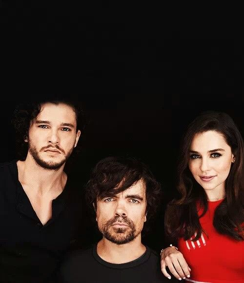 Kit Harington (Jon Snow), Peter Dinklage (Tyrion Lannister), Emilia Clarke (Daenerys Targaryen) - Game of Thrones