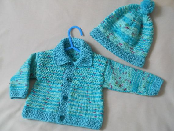Baby Boy Coat Hand knitted Jacket & Hat Set Baby by littledazzler
