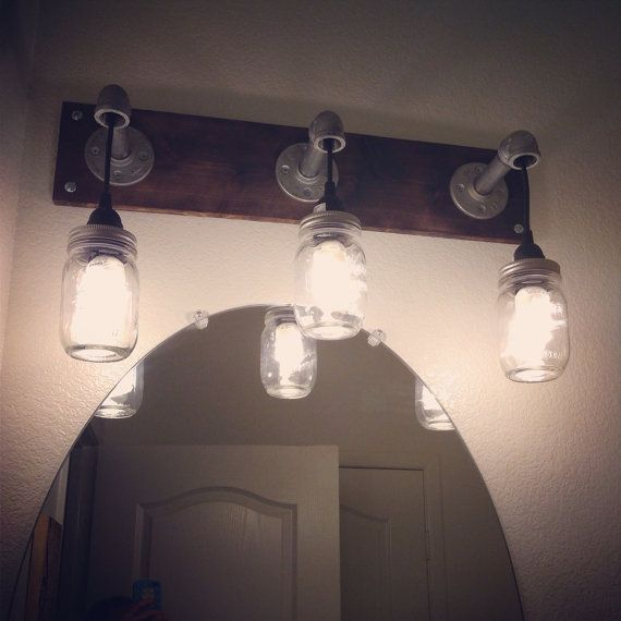 Bathroom Vanity Lights Etsy : Rustic mason jar vanity lighting by TheCustomExperience on Etsy, USD 100.00 #rustic #masonjar #diy ...