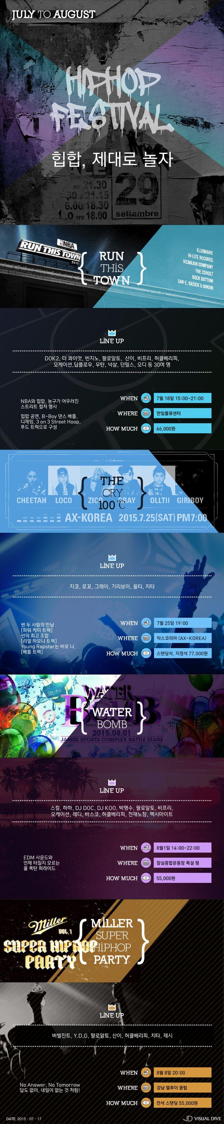 한 여름 밤의 힙합 잔치 '흥 UP' [인포그래픽]  #Hiphop / #Infographic ⓒ 비주얼다이브 무단 복사·전재·재배포 금지