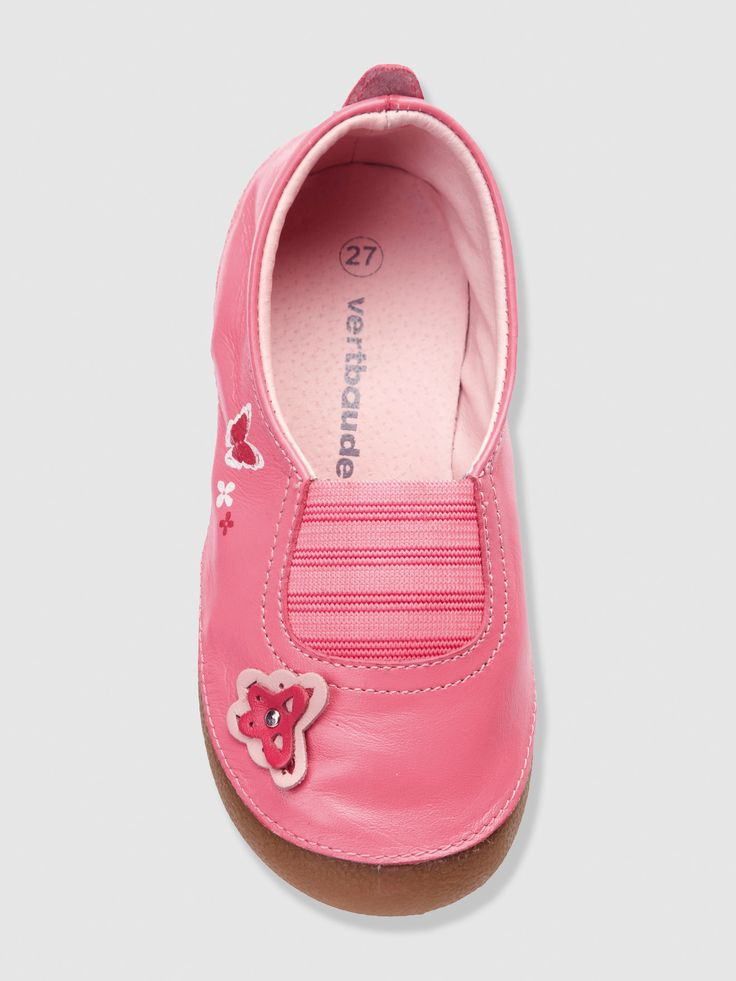 Baby Girl's Elasticated Leather Slippers, Shoes