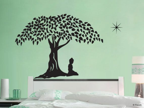buddha in meditation vinyl wall art decal wd550 by lapoonstudio 3599 - Wall Art Design Decals