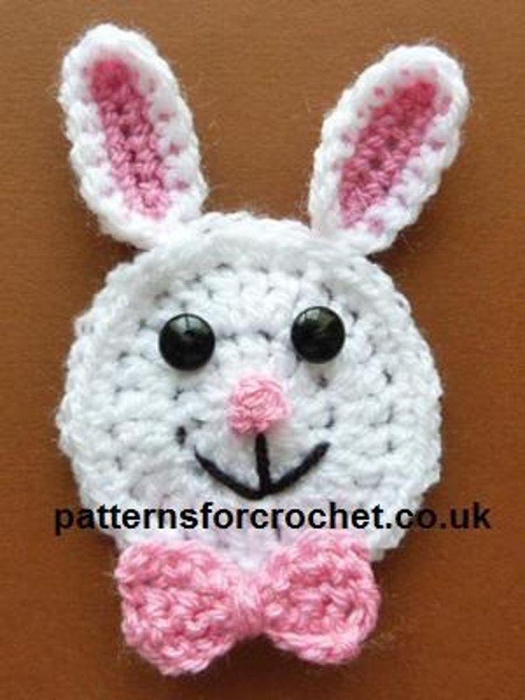 Asombroso Crochet Patrón Conejito Applique Fotos - Manta de Tejer ...