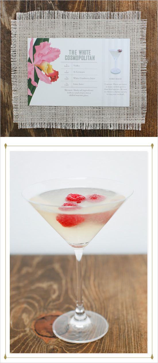 white cosmopolitan signature wedding cocktail with st germain