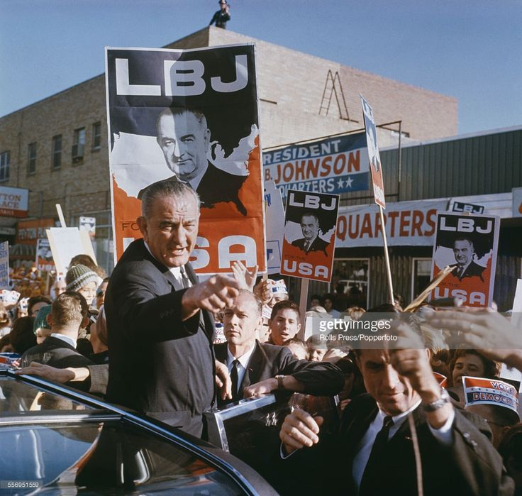 Waving To Supporters And Crowds Of Spectators From The Door A Limousine During 1964 Presidential Election Campaign Trail United States