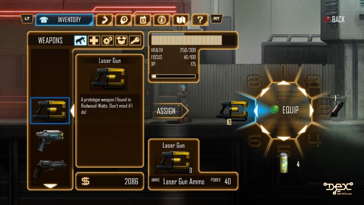 The revamped Inventory screen from the Enhanced Version. Optimized for consoles and gamepad use, but also much better for PC users. Dex - 2D cyberpunk indie RPG game - www.dex-rpg.com