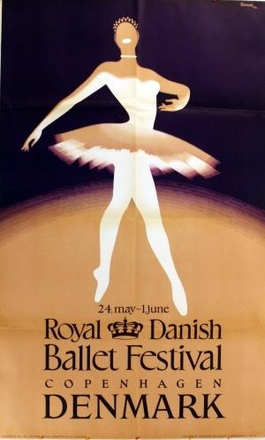 Royal Danish Ballet Festival, 1952 - original vintage poster by Thelander listed on AntikBar.co.uk