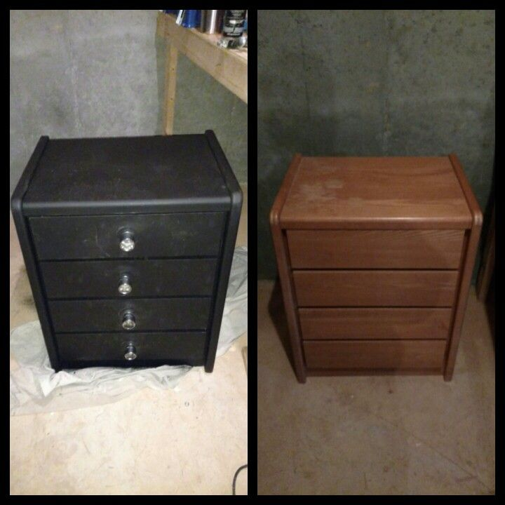 Old furniture plus truck bed liner paint plus sockets as handles