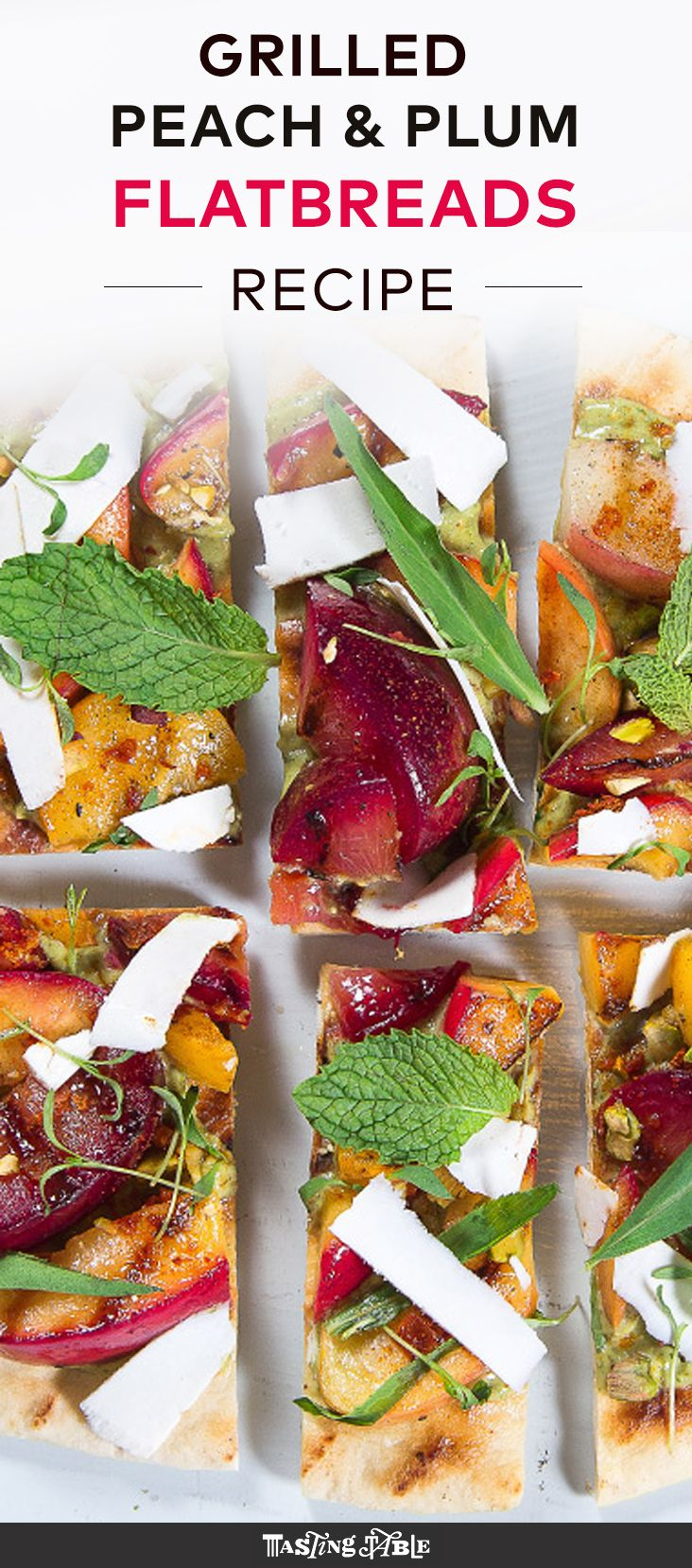 Grilled stone fruit nestled over crisp flatbread with pistachios and mascarpone makes for the brightest summer meal.