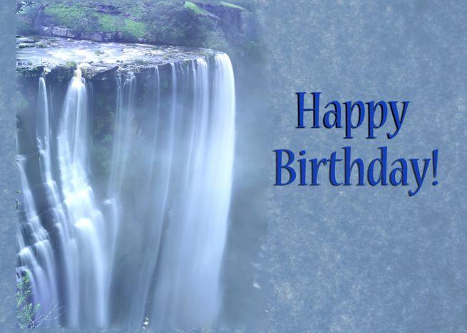 Happy Birthday Card Waterfall Card Met Afbeeldingen Verjaardag