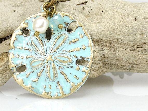 Sand Dollar collier Beach bijoux Turquoise Bleu lumière bleu mer bijoux Ocean Beach mariage cadeau Unique pour femme - collier en laiton Antique