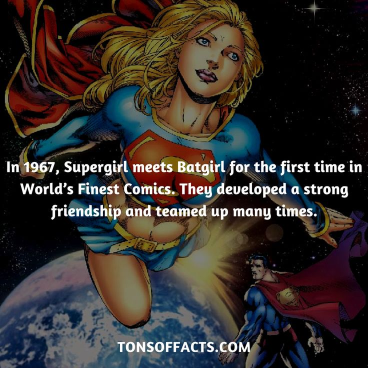 In 1967, Supergirl meets Batgirl for the first time in World's Finest Comics. They developed a strong friendship and teamed up many times. #supergirl #tvshow #justiceleague #comics #dccomics #interesting #fact #facts #trivia #superheroes #memes #1 #movies #superman