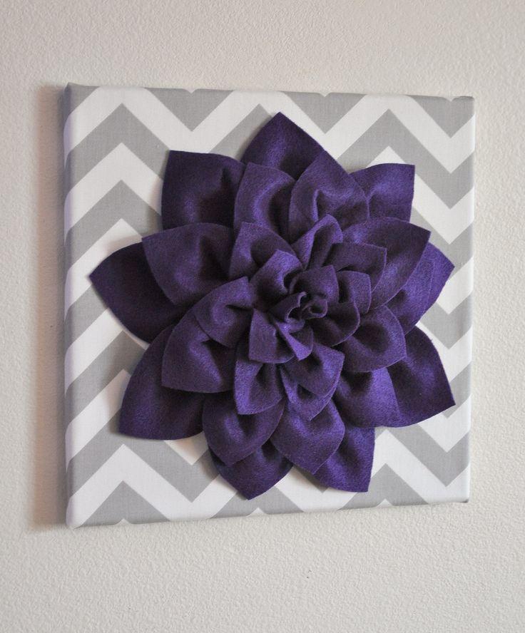 "Wall Flower -Deep Purple Dahlia on Gray and White Chevron 12 x12"" Canvas Wall Art- Baby Nursery Wall Decor-"