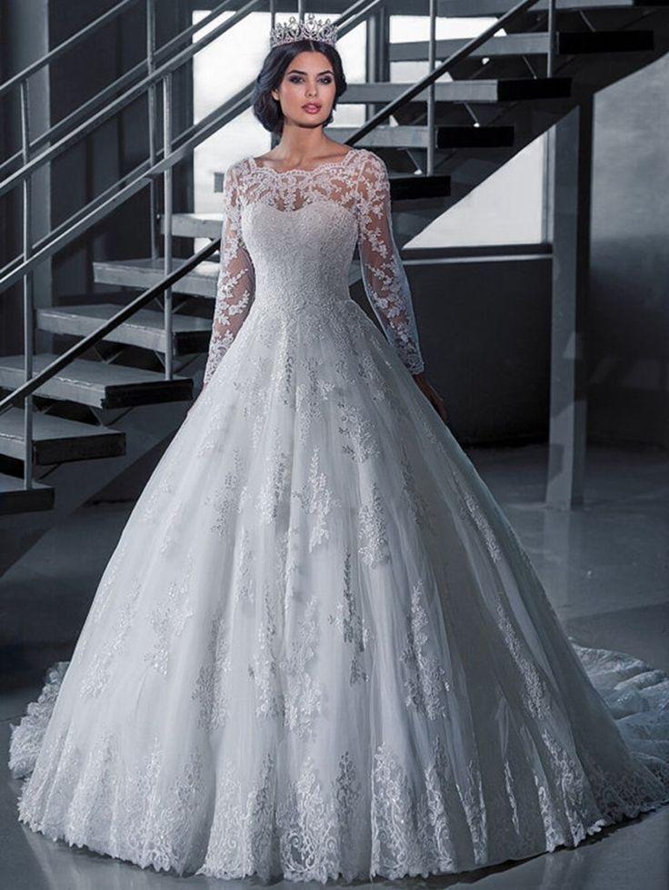 Robe De Mariee Princesse  Elegant Scalloped Ball Lace Bridal Dress Long Sleeve Lace Princess Wedding Dresses