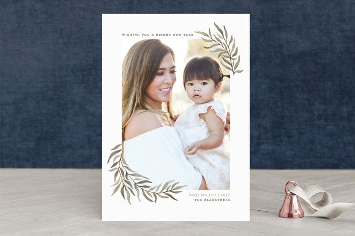 """Olive Branches"" - Elegant, Vintage Christmas Photo Cards in Olive by Wildfield Paper Co.."