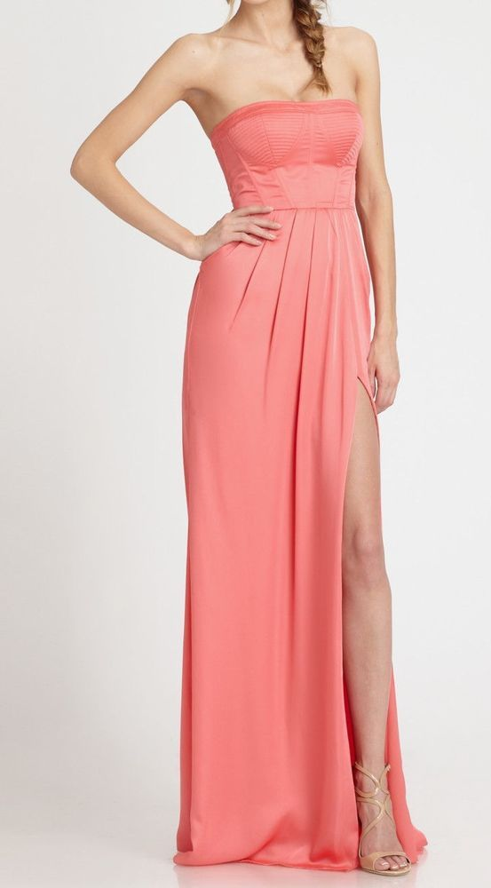 e7eb815b2be  298 BCBG Max Azria Enyas Strapless Fitted Bustier Slit Pink Coral Dress  Gown 8
