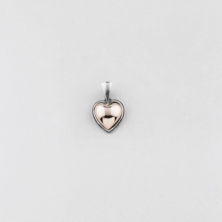 EN1212 Petite two-tone #heart #pendant in rose gold and burnished #silver - www.miglio.com