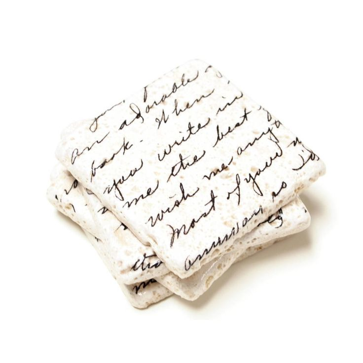 The origin of this love letter is unknown Mystery is romantic The graphics are printed directly to the marble stone using a UV flatbed printer There are four cork circle pads on the bottom of each coaster to prevent scratches and save your furniture Each tile measures 4 x4 and has natural