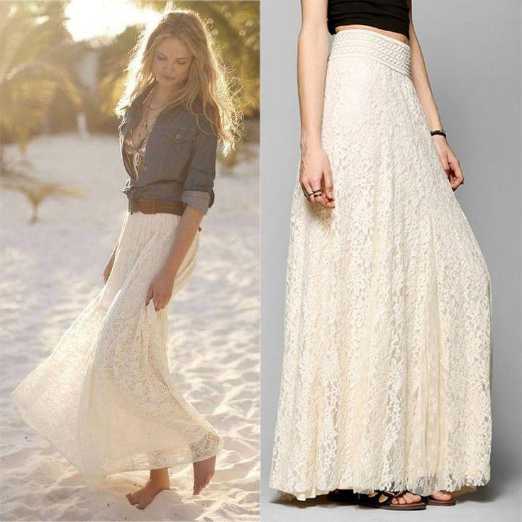 Thin waist lace openwork long skirt | victoriaswing