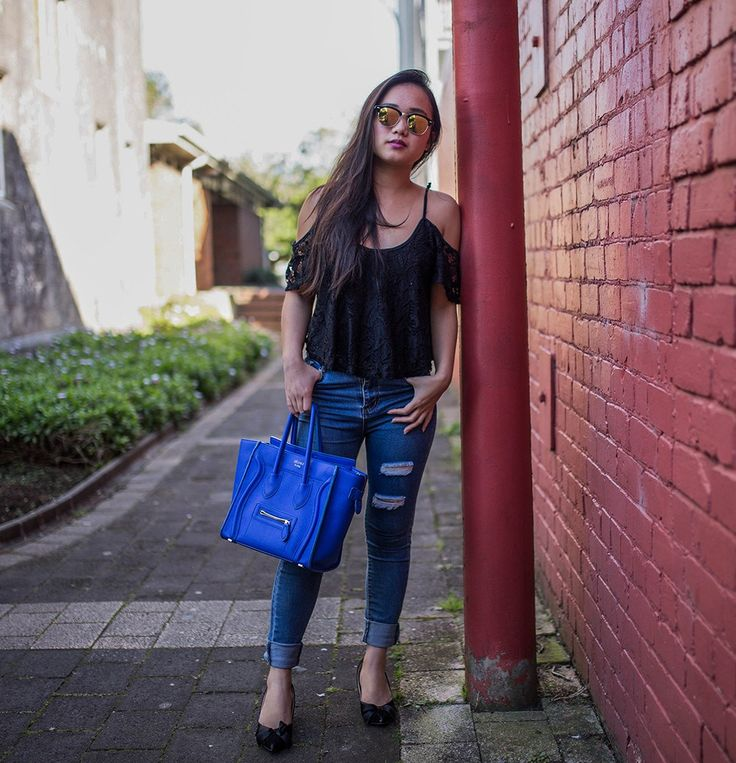 Lace and Ripped Jeans  fashion style outfit ootd