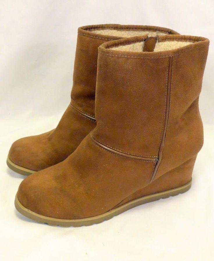 Women's Size 9 Airwalk Ankle Wedge Heel Boots Vegan Faux Suede Brown Lined #AIRWALK #PlatformsWedges #Casual
