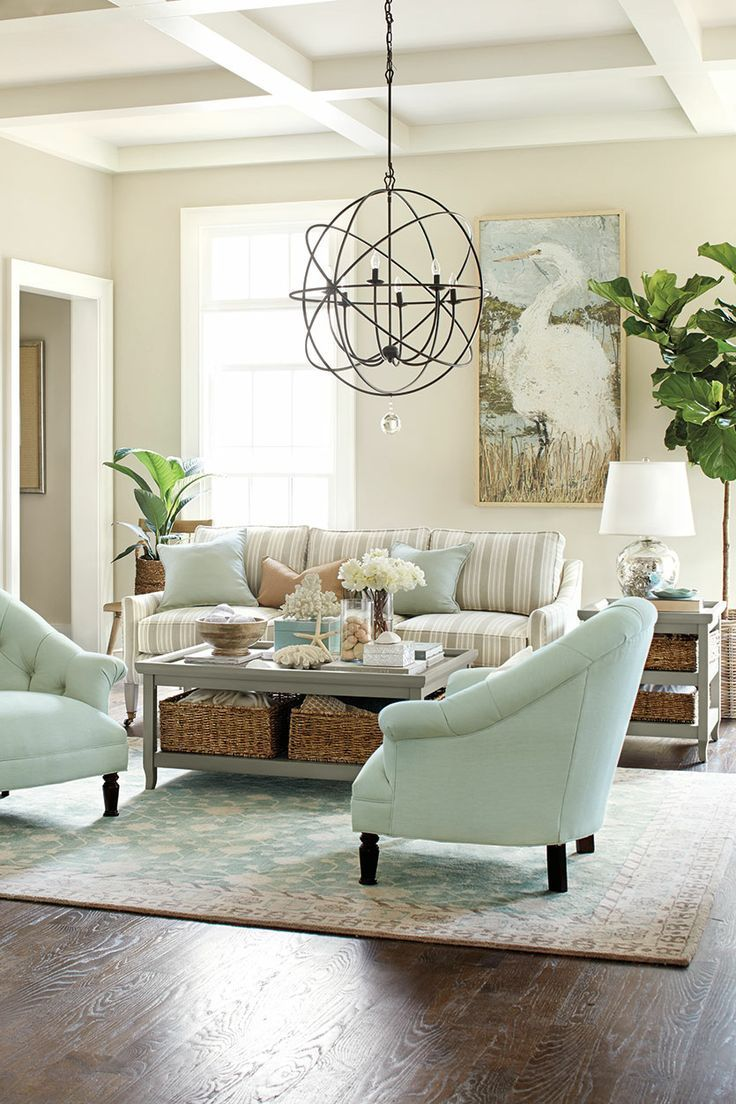 Country Living Room Inspiration | Mint Accent Furniture | Striped Sofa | Accent Light Fixture