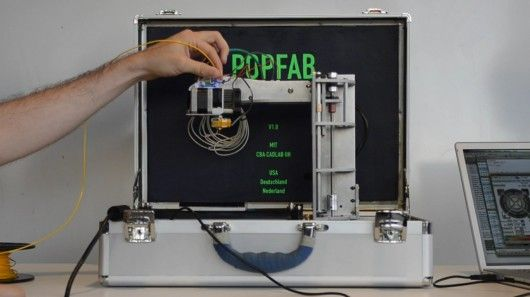 Two MIT students recently developed the PopFab, a machine that does 3D printing, milling, vinyl cutting, and drawing, all while fitting inside a small suitcase.