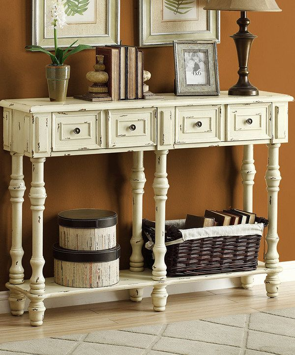 Look at this White Antique Console Table on #zulily today!