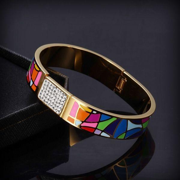 Exklusivt färgglad bangle med rhinestones (strass)