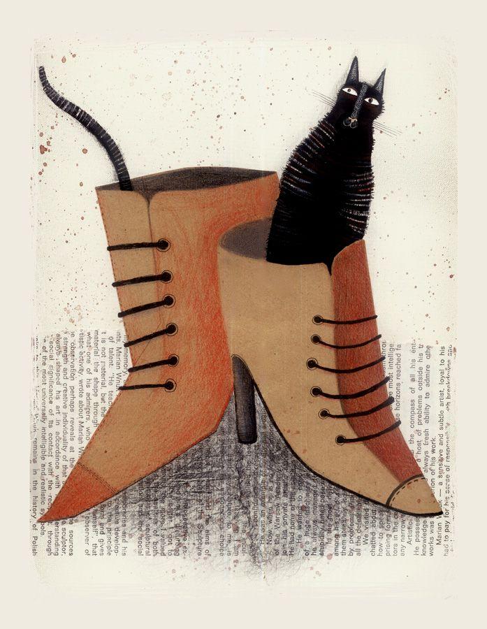 CAT IN SHOES  by *krechaCats Gatos, Cat Art, Krecha Deviantart Com, Cat Gatos, Black Kitty, Agata Dudek, Cat Illustration, Shoes Krecha, Black Cat