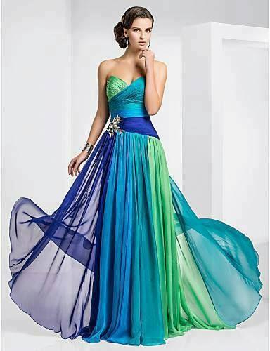 vestido azul e verde