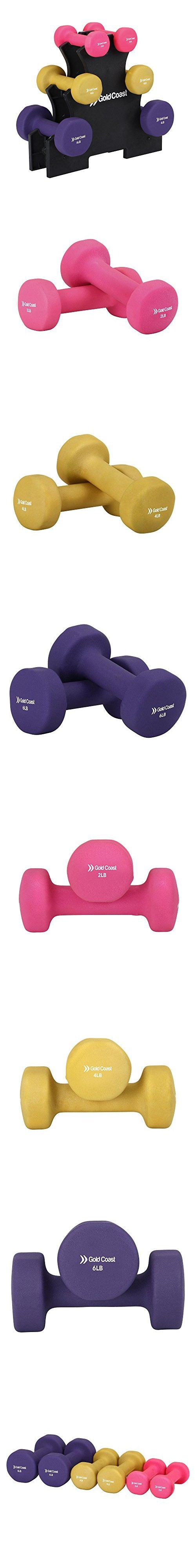 Gold Coast 24lb Dumbbell Weights Set with Rack - 2x2lb, 2x4lb and 2x6lb Neoprene Dumbbells