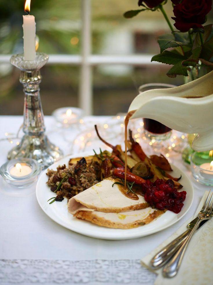 Christmas turkey with homemade gravy, roast potatoes, veg and pork and onion stuffing