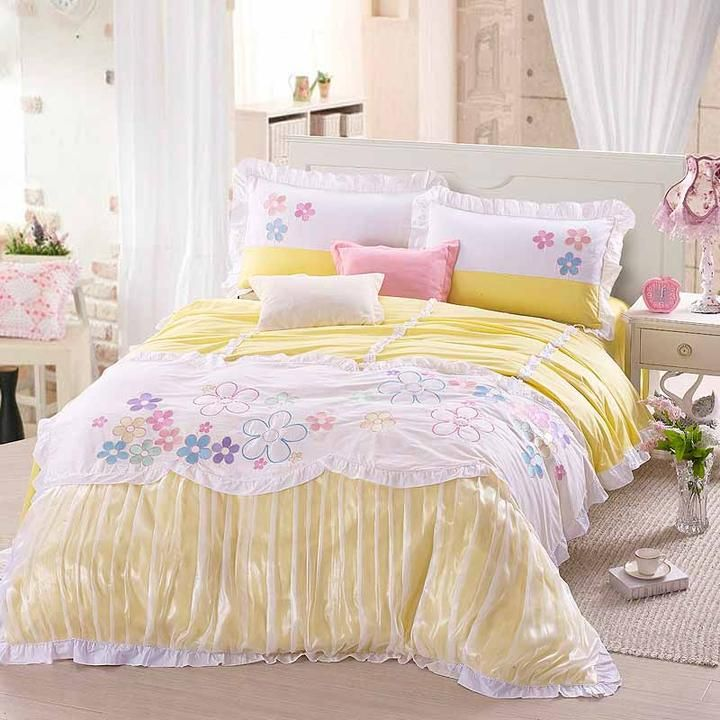 Shabby Chic Bedding Bed Purple Yellow Flower Nature Contemporary Quality Bedclothes Sheet 1171