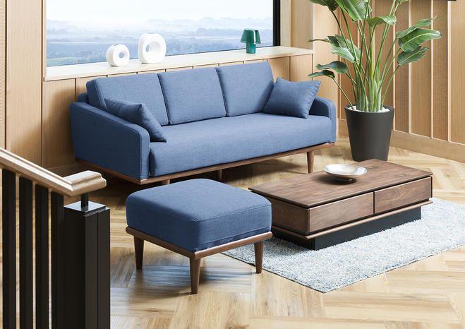 【ウォールナット】シンプルなリラックスソファ ブルー:ナチュラル,シンプルモダン,ブルー系,Home's Style(ホームズスタイル)の3人掛けソファの画像