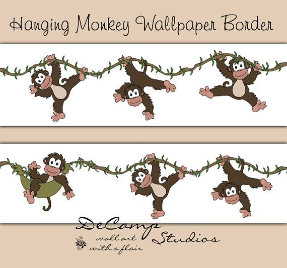 Hanging Swinging Monkey wallpaper border wall art decals for baby boy jungle nursery and childrens bedroom decor #decampstudios