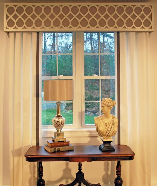 This is a good example of making a small window look larger by the use of an effective window treatment. The draperies extend past the window frame & the cornice is hung high enough to not block any of the light or view. Please do this whenever possible when planning  how to treat your windows. The fabrics & trim are well chosen also.