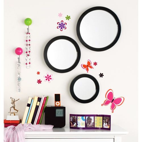 NEW Your Zone Rich Black 3 Pack Mirror Set Wall Decor Bedroom
