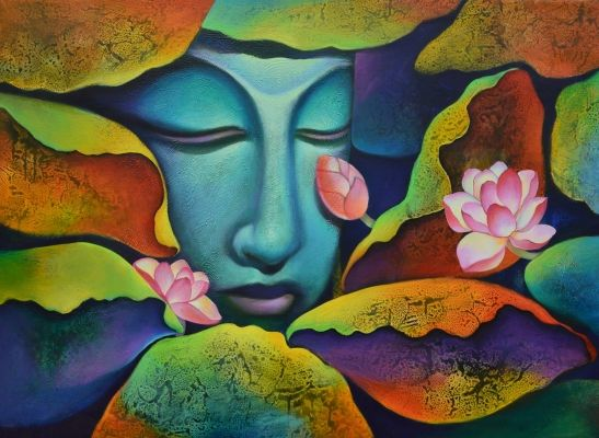 Buddha with Nature by Shyamsundar P Achary on Artflute.com