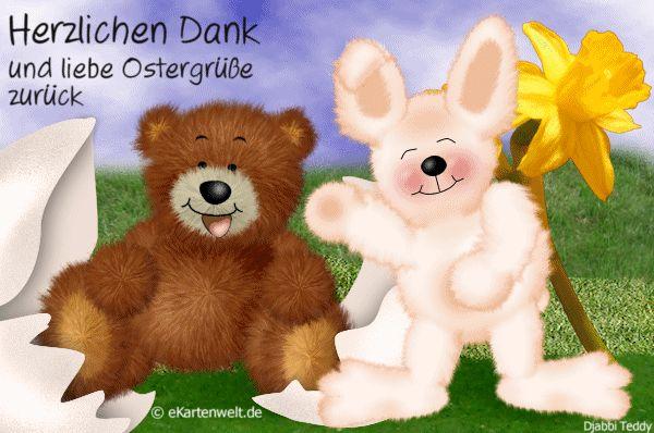 Herzlichen Dank und liebe Ostergrüße zurück. Animierte Danke Karte für Osterwünsche mit Djabbi Teddy
