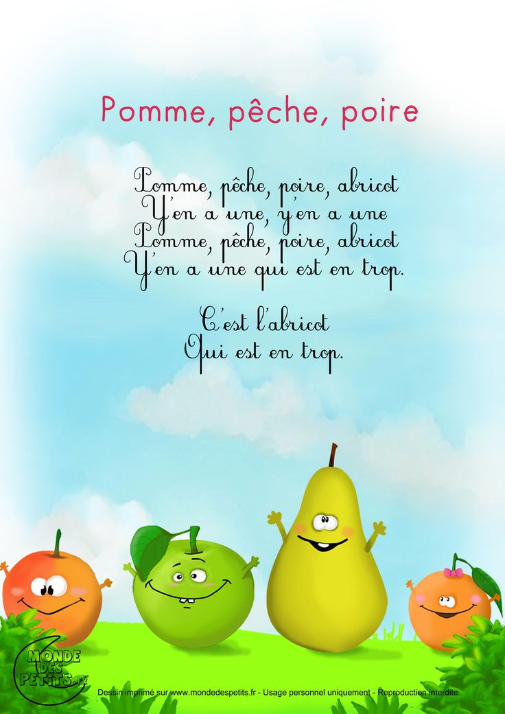 Paroles_Pomme, pêche, poire, abricot