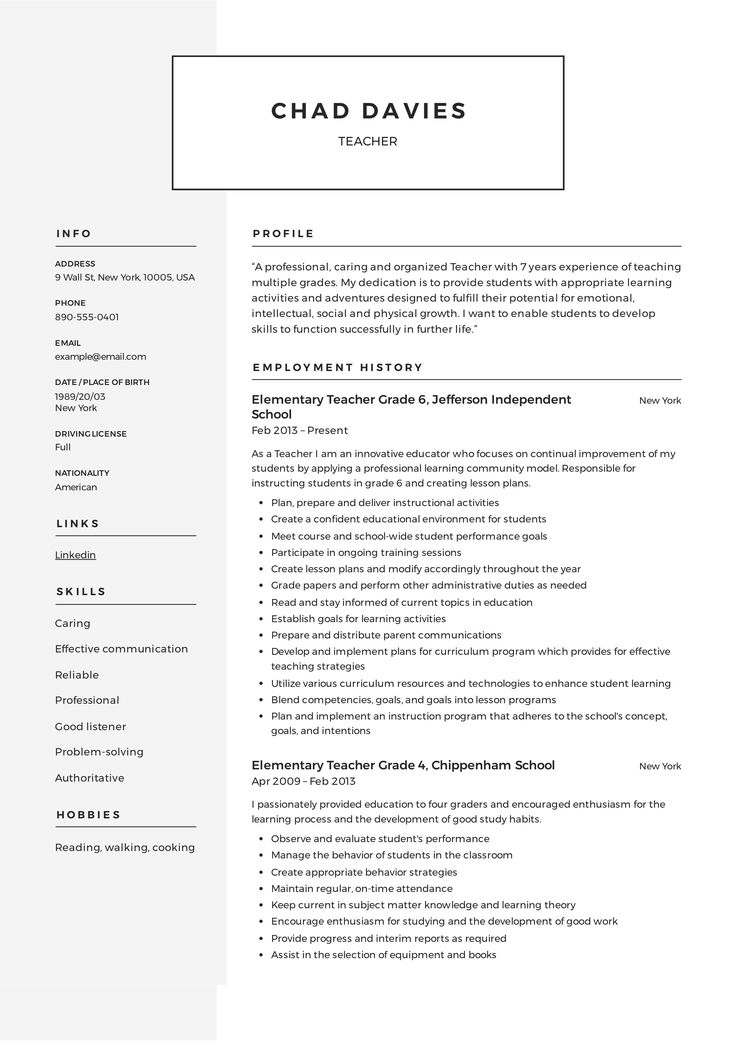 Teacher Resume Template in 2020 Elementary teacher