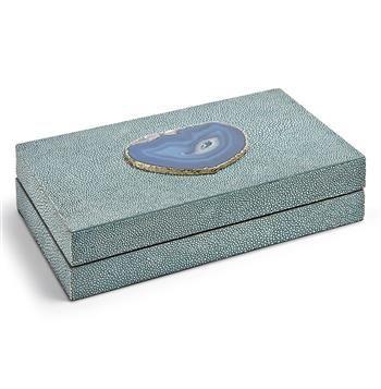 Destin Coastal Beach Turquoise Shagreen Blue Agate Rectangle Decorative Box - Small