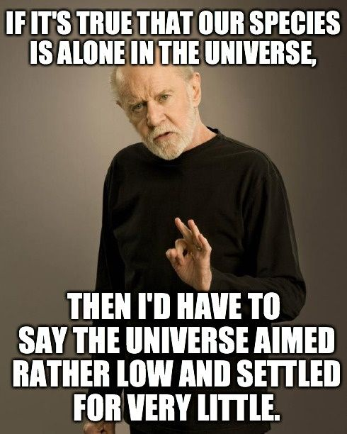 If it's true that our species is alone in the universe, then I'd have to say the universe aimed rather low and settled for very little   George Carlin Quotes