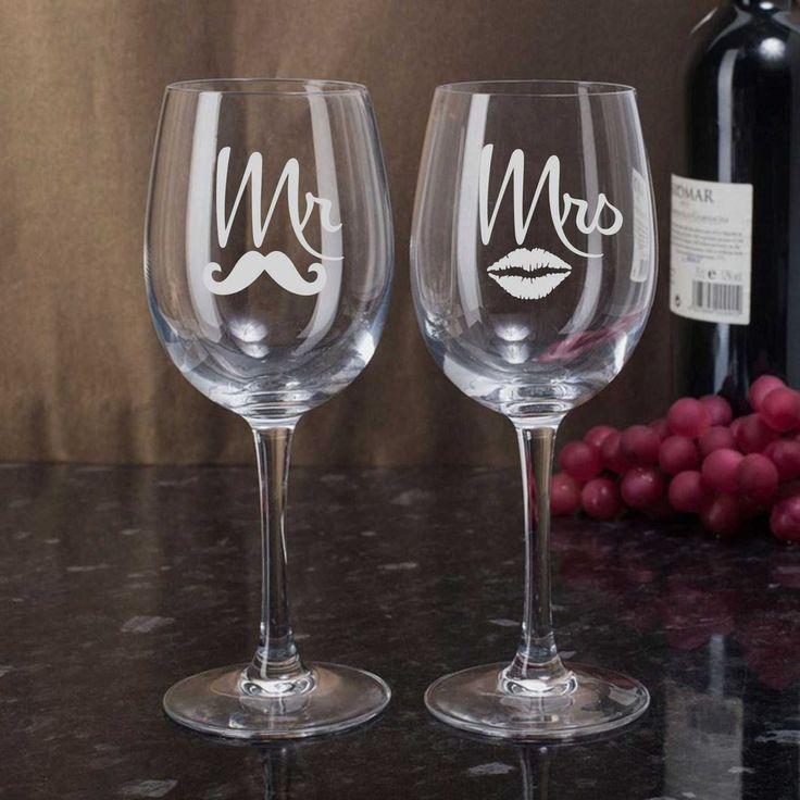 Mr Mrs Lips Moustache Bride Groom Etched Flutes Toasting Glasses Gift Set